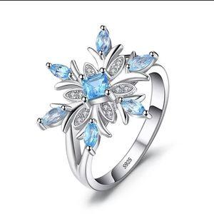 Swiss blue topaz snowflakes ring
